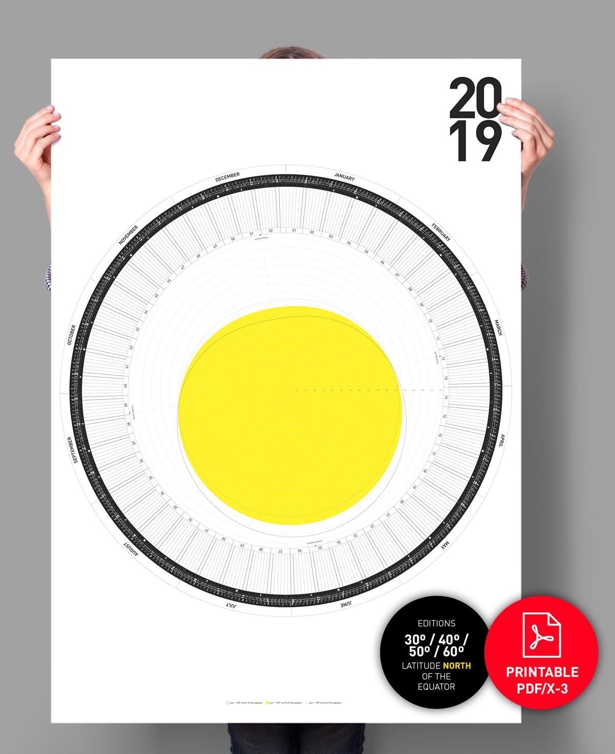 The Circular Calendar 2019 – 60º/50º/40º/30º – north ...