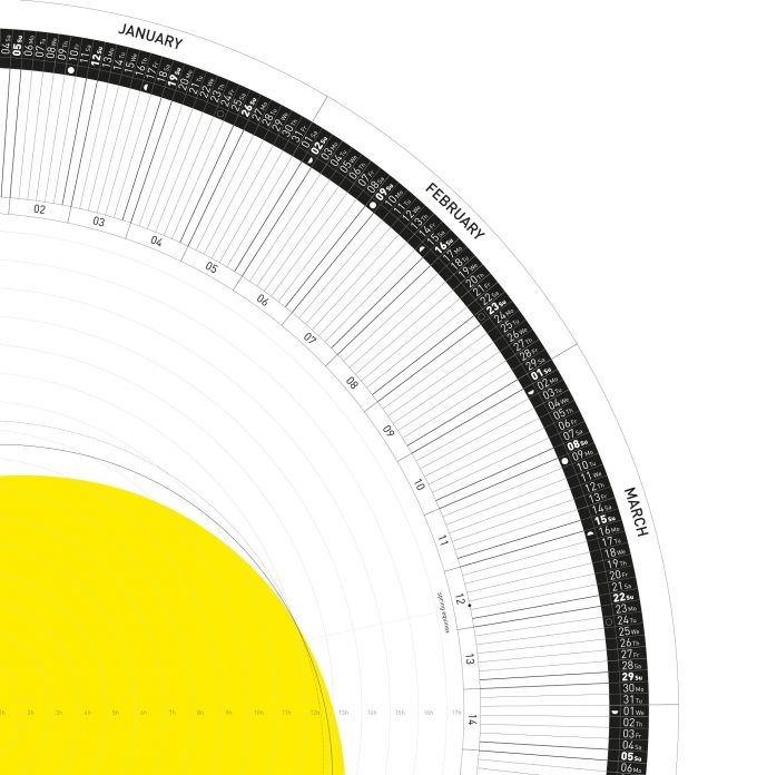 The Circular Calendar 2021 – 60º/50º/40º/30º – north – Printable PDF 1